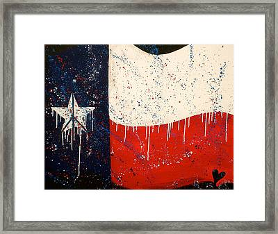 Peace Love And Texas Framed Print by Debi Starr