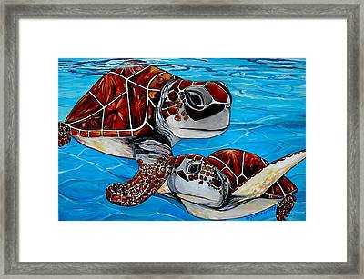Peace Love And Turtles Framed Print by Patti Schermerhorn