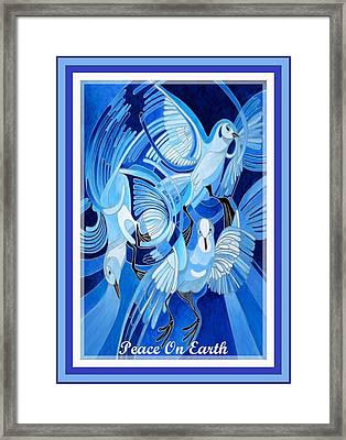 Peace On Earth Greetings With Doves  Framed Print