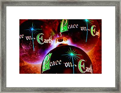 Framed Print featuring the photograph Antique Peace On Earth Christmas Ornaments by Vizual Studio