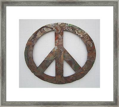 Peace Sign From Pieces Recylced Metal Wall Sculpture Framed Print by Robert Blackwell