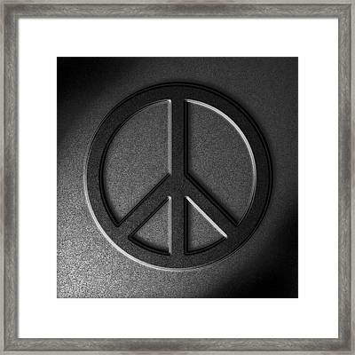 Peace Sign Stone Texture Framed Print