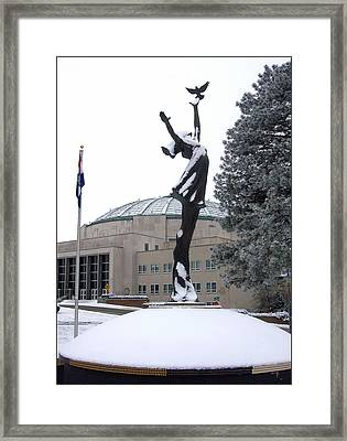 Peace Statue In Winter Framed Print