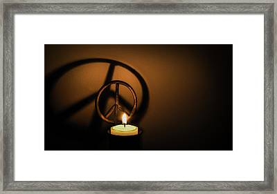 Peace Symbol Candle  Framed Print