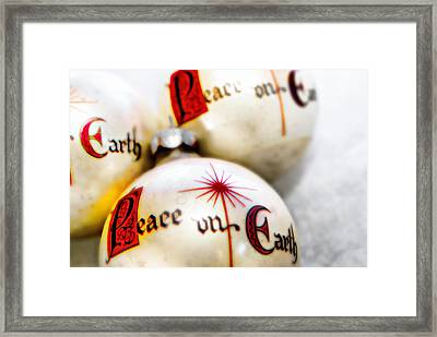 Framed Print featuring the photograph Antique Peace On Earth Christmas Decorations by Vizual Studio