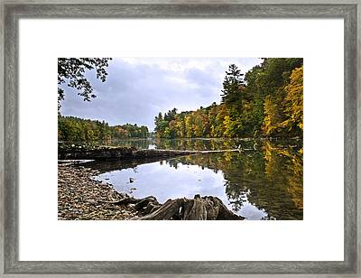Peaceful Autumn Lake Framed Print by Christina Rollo