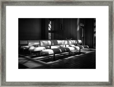Peaceful Benches Framed Print by Joan Carroll