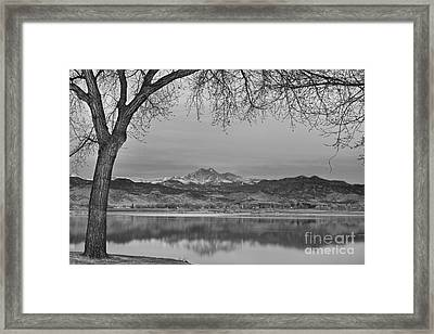 Peaceful Early Morning First Light Longs Peak View Bw Framed Print by James BO  Insogna