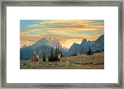 Peaceful Evening - Tetons Framed Print