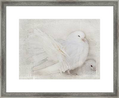 Peaceful Existence White On White Framed Print by Barbara McMahon