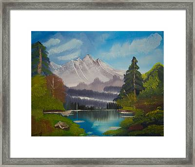 Peaceful Lake With Snow Mountain--original Landscape Oil Painting Framed Print by Laura SONG