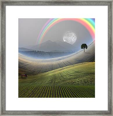 Framed Print featuring the digital art Peaceful Landscape  by Bruce Rolff
