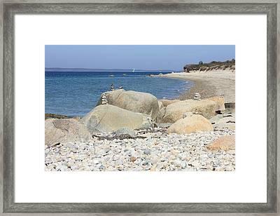 Peaceful Martha's Vineyard Beach Framed Print by Carol Groenen