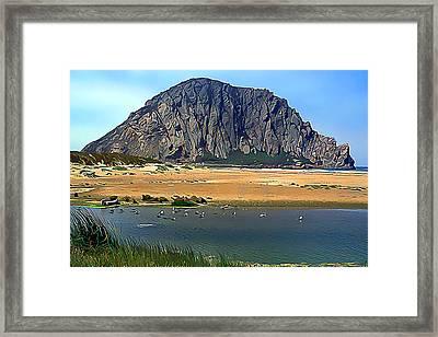 Peaceful Morro Rock Framed Print by Wernher Krutein