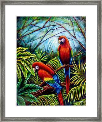 Peaceful Parrots Framed Print by Sebastian Pierre