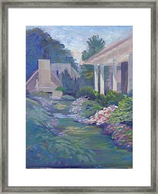 Peaceful Portico Framed Print by Judy Fischer Walton