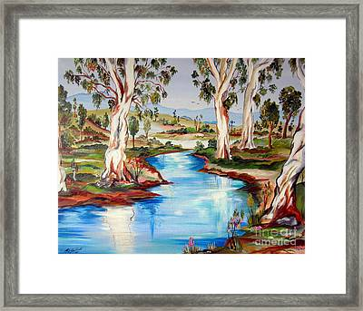 Peaceful River In The Australian Outback Framed Print by Roberto Gagliardi