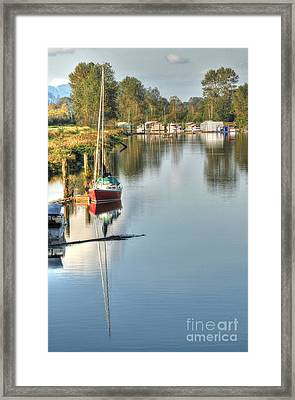 Peaceful River View Framed Print by Malu Couttolenc