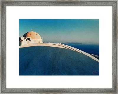 Peaceful Santorini Meditation Framed Print