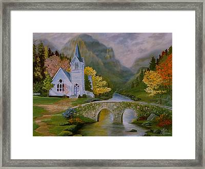Framed Print featuring the painting Peaceful Stream by Rick Fitzsimons