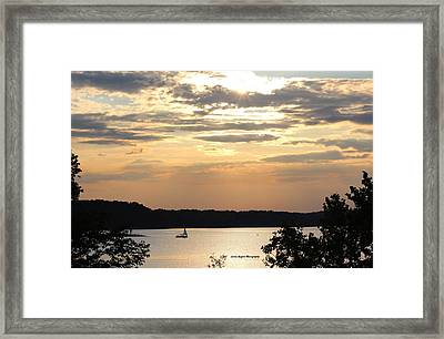 Framed Print featuring the digital art Peaceful Sunset by Lorna Rogers Photography