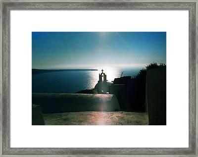 Framed Print featuring the photograph Peaceful Sunset Santorini Island Greece by Colette V Hera  Guggenheim