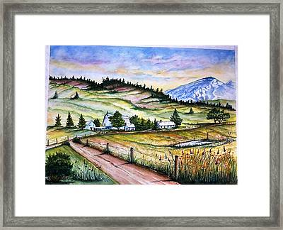 Framed Print featuring the painting Peaceful Valley Farm by Richard Benson