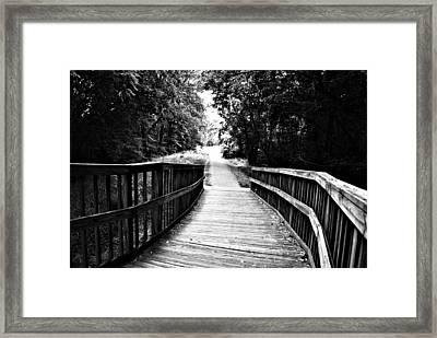Peaceful Walkway Blackwhite Framed Print by Stephanie Grooms