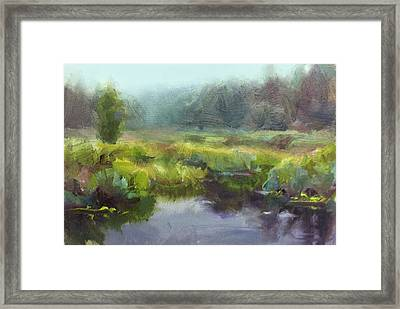 Peaceful Waters Impressionistic Landscape  Framed Print by Karen Whitworth