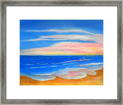 Framed Print featuring the painting Peacefully Pink - Pink Seascapes by Shelia Kempf