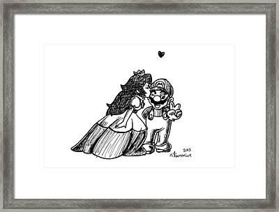 Peach And Mario Framed Print by Kayleigh Semeniuk