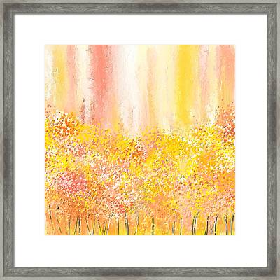 Peach And Yellow Garden- Peach And Yellow Art Framed Print by Lourry Legarde