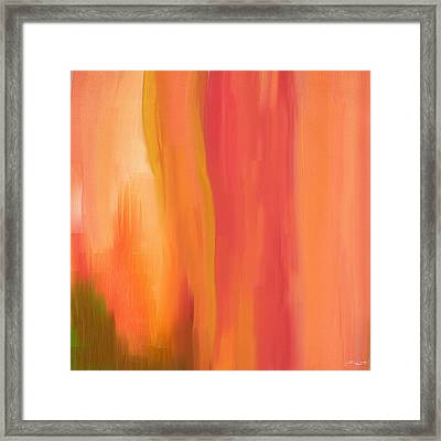 Peach Floral Framed Print by Lourry Legarde