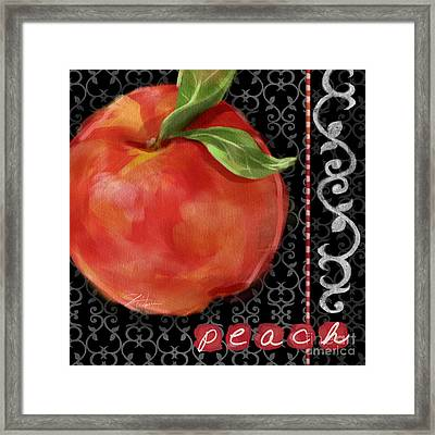 Peach On Black And White Framed Print by Shari Warren