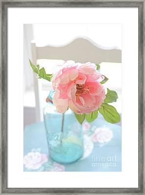 Dreamy Peony Vintage Mason Ball Jar - Ethereal Dreamy Peony Flower Shabby Chic Aqua Peach White  Framed Print by Kathy Fornal