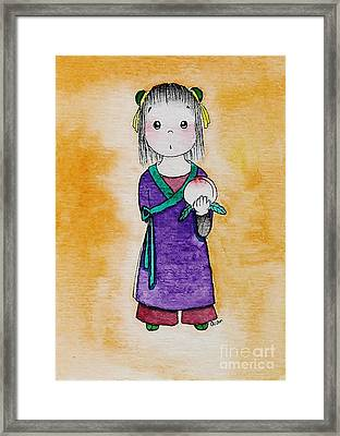 Girl And Peach Framed Print by Qian Chen