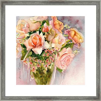 Peach Roses In Vase Framed Print