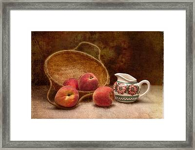 Peaches And Cream Still Life II Framed Print by Tom Mc Nemar