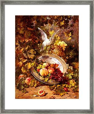 Framed Print featuring the painting Peaches And Grapes With A Dove - Bourland - 1875 by Antoine Bourland