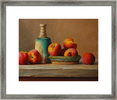 Peaches And Green Ceramic Framed Print by Dan Petrov