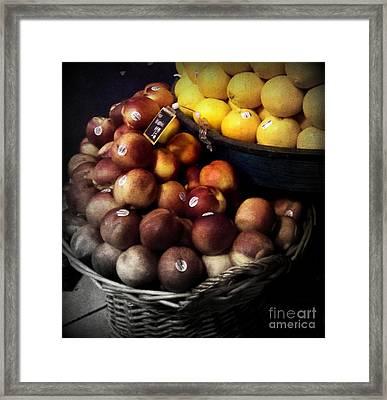 Peaches And Lemons Antique Framed Print by Miriam Danar