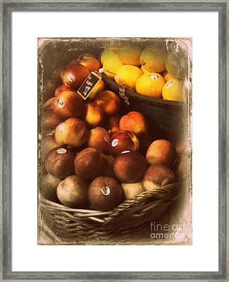 Peaches And Lemons - Old Photo - Top Finisher Framed Print by Miriam Danar