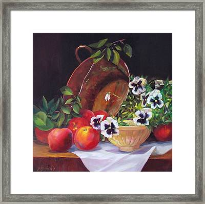 Peaches And Pansies  Framed Print by Donna Munsch