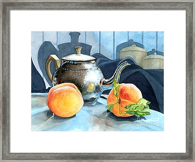 Peaches And Tea Framed Print by Barbara Jewell