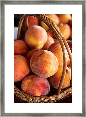 Peaches In A Wicker Basket Framed Print by Teri Virbickis