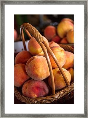 Peaches In Wicker Basket Framed Print by Teri Virbickis