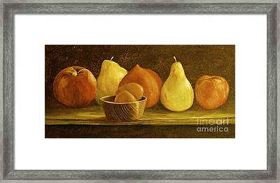 Peaches Pears And Eggs Framed Print by AnnaJo Vahle