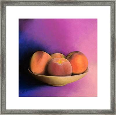 Peaches - Pastel Framed Print