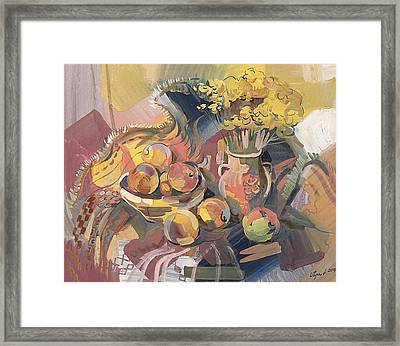Peaches With Immorteles Framed Print by Meruzhan Khachatryan