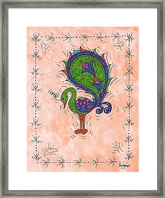 Peachy Peacock Framed Print by Susie Weber